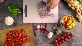 Sliced onion to flavor pasta stock video