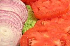 Sliced onion and tomato upclos Stock Photos