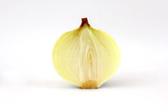 Sliced onion on white background. Sliced yellow onion on white background Stock Photos