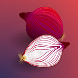 Sliced onions on a red background Stock Image