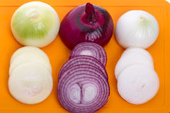 Sliced onions three varieties Royalty Free Stock Photography