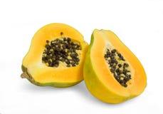 Sliced open Papaya fruit Stock Photos
