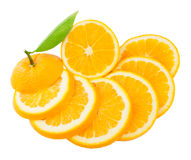 Sliced orange. Fruit segments  with a leaf  isolated on white background Stock Photos