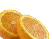 Sliced Orange. Isolated on a white background Royalty Free Stock Image