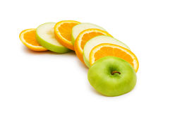 Sliced orange and apple isolated Royalty Free Stock Photo