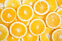 Sliced orange background. Food and drink.  Royalty Free Stock Photos