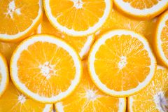 Sliced orange background. Food and drink.  Royalty Free Stock Images