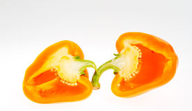 Sliced Orange bell pepper Stock Photos