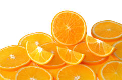 Sliced orange fruit isolated on white background Stock Photo