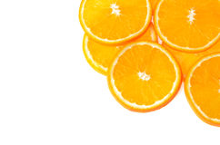 Sliced orange fruit isolated on white background Royalty Free Stock Photography