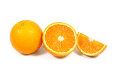 Sliced orange fruit isolated on white Royalty Free Stock Photo