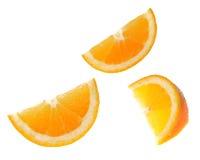 Sliced orange fruit isolated on white background Stock Photo