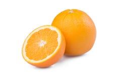 Sliced orange fruit. Isolated on white background Royalty Free Stock Photography