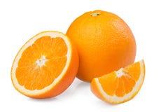 Sliced orange fruit. Isolated on white background Stock Images