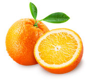 Sliced orange fruit with leaves isolated on white Royalty Free Stock Photos