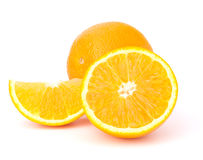 Sliced orange fruit segments  isolated on white background Royalty Free Stock Image