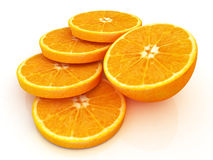 Sliced orange and half oranges Royalty Free Stock Image