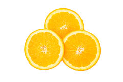 Sliced orange in isolate on white. Royalty Free Stock Images