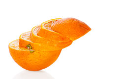 Sliced orange isolated on white Royalty Free Stock Photo
