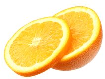 sliced orange isolated on white background. healthy food royalty free stock photography