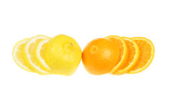 Sliced orange and lemon Royalty Free Stock Photo