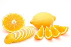 Sliced orange and lemon isolated on a white background Stock Images