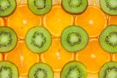 Sliced ​​orange, lemon  and kiwi Royalty Free Stock Images