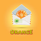 Sliced orange in letters with typographic design . freshness nat Stock Images