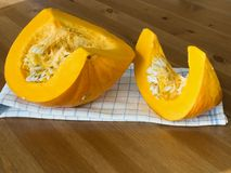 Sliced orange pumpkin 2 Stock Photos
