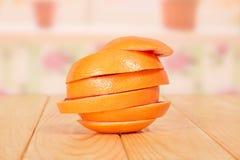 Sliced orange on table Stock Photo