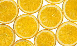 Sliced orange transparent circles. Range slices on white background royalty free stock image