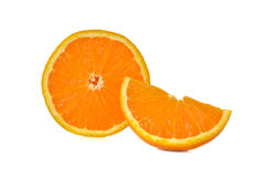 Sliced orange on white Stock Images