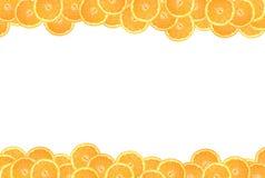 Sliced orange on a white background. Frame with orange circles, white background royalty free illustration