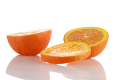 Sliced oranges isolated on white Stock Images