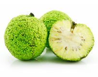 Sliced Osage Oranges (Maclura) Isolated on White Royalty Free Stock Photos