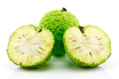 Sliced Osage Oranges (Maclura) Isolated on White Stock Photo