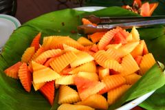 Sliced papaya. Fruits on leafy plate tropical presentation Royalty Free Stock Image