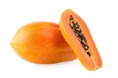 sliced papaya fruit isolated on white background Royalty Free Stock Photography