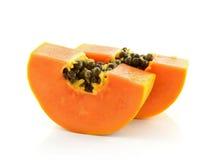 Sliced papaya isolated on a white background. Stock Photos