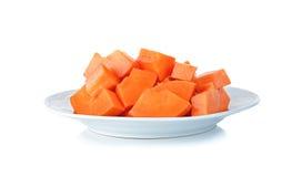 Sliced papaya with plate isolated on white background Royalty Free Stock Photo
