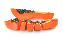 Sliced papaya on a white background Royalty Free Stock Image