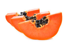 Sliced papaya on a white background Stock Image