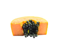 Sliced papaya wiht seed on white background Royalty Free Stock Photos