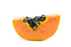 Sliced papaya wiht seed on white background Stock Image