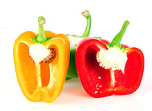 Sliced paprika. Isolated on white background Stock Images