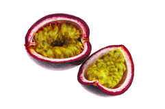 Sliced Passion fruit isolated on white background Stock Photography