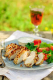 Sliced peanut crusted chicken breast with fresh salad Royalty Free Stock Photography