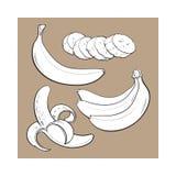 Sliced, peeled, singl and bunch of three ripe banana Stock Photography
