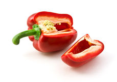 Sliced pepper with one-quarter Royalty Free Stock Image