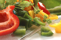 Sliced Pepper With Herbs Royalty Free Stock Photography